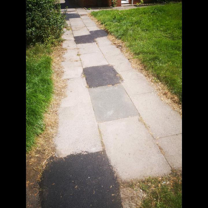 Poorly repaired footpath